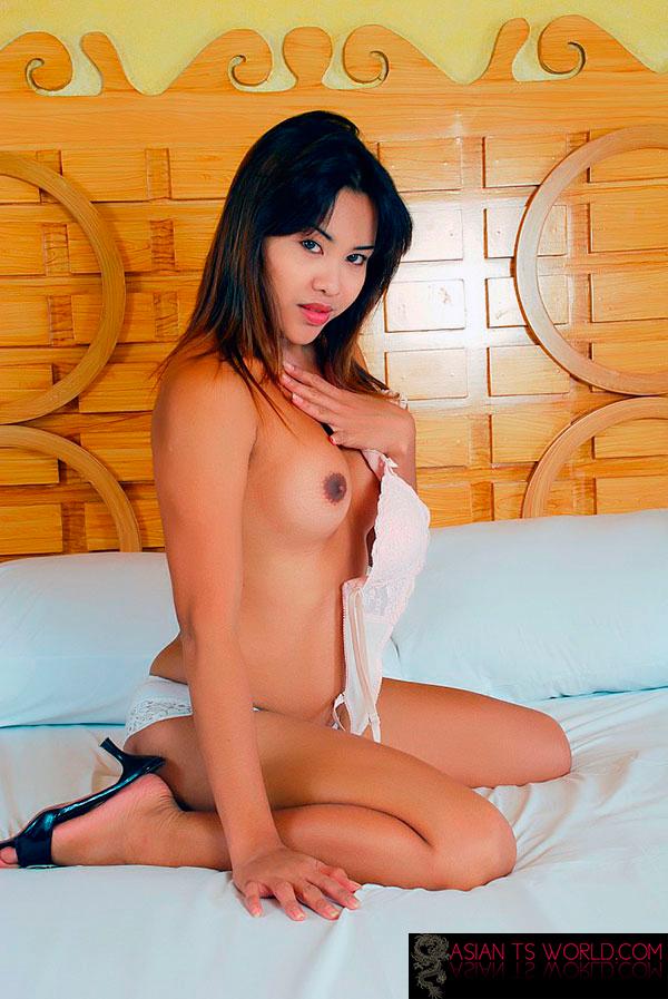 Asian tranny masturbates