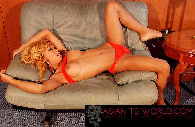 BIg Tits Blonde Asian Shemale On Couch